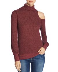 Three Dots - Red Thermal Cold-shoulder Turtleneck Sweater - Lyst
