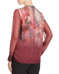 Elie Tahari - Red Terri Silk Ombré-print Blouse - Lyst