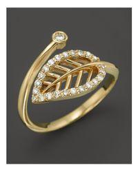 KC Designs - Metallic Diamond Leaf Midi Ring In 14k Yellow Gold - Lyst