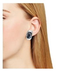 Robert Lee Morris - Silver-tone Black Stone Sculptural Clip-on Drop Earrings - Lyst