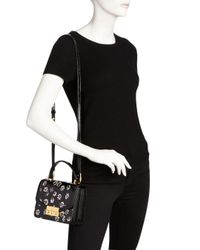 Tory Burch - Black Juliette Printed Mini Patent Leather Crossbody - Lyst