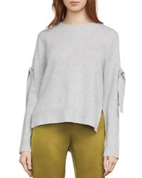BCBGMAXAZRIA - Gray Emery Tie-sleeve Sweater - Lyst