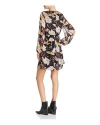 Ella Moss - Black Floral Haze Front Lace-up Dress - Lyst