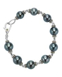 Lagos - Metallic 18k Gold And Sterling Silver Luna Cultured Freshwater Black Pearl Bracelet - Lyst