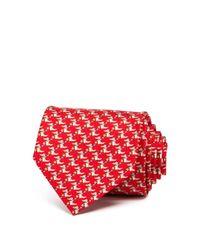 Ferragamo - Red Happy Crocodile Classic Tie for Men - Lyst