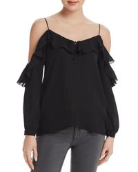 PAIGE - Black Arabeth Cold-shoulder Silk Top - Lyst