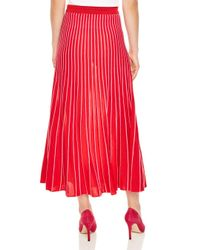 Sandro Red Shryl Pleated Striped Midi Skirt