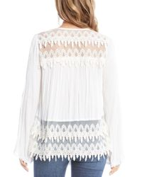 Karen Kane - White Lace-trimmed Top - Lyst