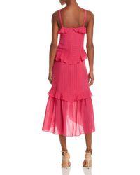 Parker - Pink Josie Ruffled Silk Dress - Lyst