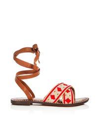 Sam Edelman - Red Luisa Beaded Ankle Wrap Sandals - Lyst