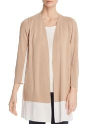 Eileen Fisher - Natural Cotton Color-block Cardigan - Lyst