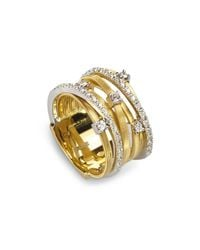 Marco Bicego | Metallic 18k Yellow Gold Goa Seven Row Ring With Diamonds | Lyst