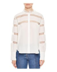 Sandro - White Lace Inset Silk Blouse - Lyst