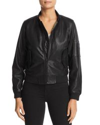 Majestic Filatures Black Leather Bomber Jacket