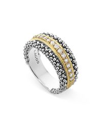 Lagos | Metallic 18k Gold And Sterling Silver Caviar Band Ring | Lyst