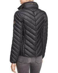 MICHAEL Michael Kors Black Missy Short Chevron Packable Down Coat