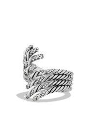 David Yurman - Metallic Willow Open Four-row Ring With Diamonds - Lyst