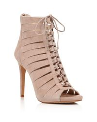 Vince Camuto - Natural Fionna Lace Up Open Toe High Heel Booties - Lyst