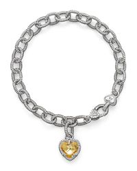 Judith Ripka | Metallic Sterling Silver Single Heart Canary Crystal Charm Bracelet | Lyst