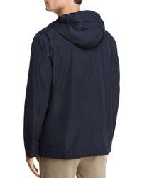 Cole Haan - Blue Hooded Rain Jacket for Men - Lyst