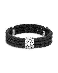John Hardy | Men's Kali Silver Triple Row Black Woven Leather Bracelet for Men | Lyst