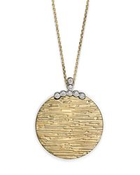 Roberto Coin | Metallic Diamond Elephantino Circle Necklace In 18k Gold, 16"