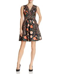 Kate Spade - Black Mixed Blossom Fit-and-flare Dress - Lyst