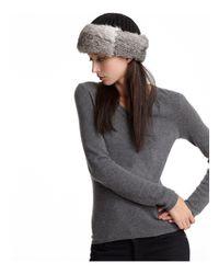 Surell | Black Rabbit Fur Cuff Hat With Knit Crown | Lyst