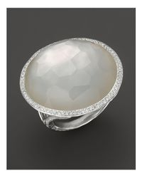 Ippolita - Metallic Sterling Silver Stella Ring In Mother-of-pearl Doublet With Diamonds - Lyst