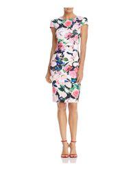 Betsey Johnson - White Floral-print Scuba Sheath Dress - Lyst