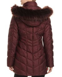 Marc New York - Red Marley Faux Fur Trim Puffer Coat - Lyst