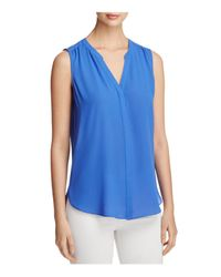 NYDJ - Blue Sleeveless Pleat Back Blouse - Lyst