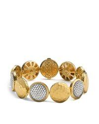 John Hardy - Metallic Palu 18k Gold Diamond Pavé Five Disc Station Bracelet - Lyst