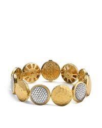 John Hardy | Metallic Palu 18k Gold Diamond Pavé Five Disc Station Bracelet | Lyst