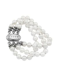 Lagos | White 18k Gold And Sterling Silver 3 Strand Freshwater Pearl Bracelet | Lyst