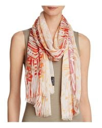 Fraas - Red Brushed Print Scarf - Lyst