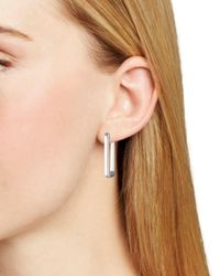 Ralph Lauren - Metallic Lauren Rectangular Hoop Drop Earrings - Lyst
