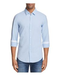 BOSS Green - Blue C Bence Micro-check Slim Fit Button-down Shirt for Men - Lyst