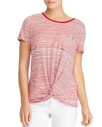 Ralph Lauren - Red Lauren Striped Twist Tee - Lyst