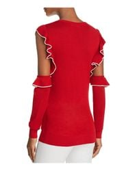 French Connection - Red Lois Frill Cold-shoulder Sweater - Lyst