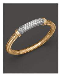 Roberto Coin | Metallic 18k Yellow Gold Primavera Mesh Bangle With White Gold And Diamond Bar, 1.35 Ct. T.w. | Lyst