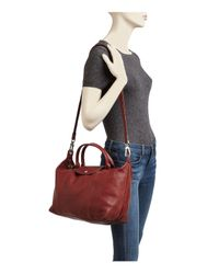 Longchamp | Red Le Pliage Medium Leather Satchel | Lyst
