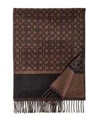 Ferragamo - Brown Large Gancini Print Reversible Scarf for Men - Lyst