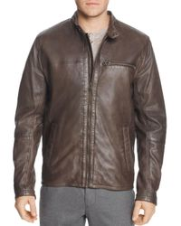 d66b190ddb Cole Haan Washed Leather Moto Jacket in Brown for Men - Lyst
