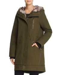 Vince Camuto - Green Faux Fur Trim Hooded Parka - Lyst