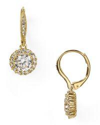 Nadri | Metallic Framed Round Cubic Zirconia Drop Earrings | Lyst