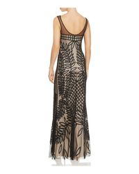 JS Collections - Black Embroidered Mesh Gown - Lyst
