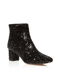 Kate Spade - Black Tal Sequin Block Heel Booties - Lyst
