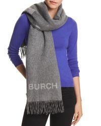 Tory Burch - Gray Wool Logo Scarf - Lyst