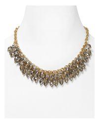 "ABS By Allen Schwartz | Metallic Chain Beaded Frontal Necklace, 16"" | Lyst"